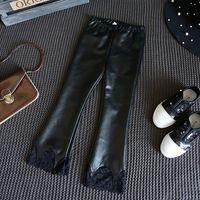 Wholesale Kids Wholesale Fashion Leather Leggings - Korean Fashion Girls Leather Trousers Black Lace Children Leggings Tights kid long pants Children Clothes Kids Clothing Girls Clothes A1069