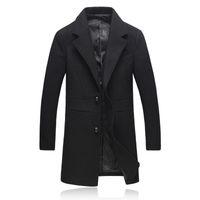 Wholesale Man Topcoat - Wholesale- Fashion Men Long Coats 2016 V- Neck Solid Woolen Jackets Winter Warm Mens Gothic Clothing Plus Size Full Sleeve Topcoats 807