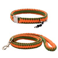 Wholesale Paracord Orange - Distinctive Collar And Leash Green and Orange Paracord Hand-make Silvery Buckle and Ring High-quality Parachute Collar For Any Dog