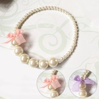 Wholesale Wholesale Pearl Necklace For Kids - Wholesale- Classic Lace Bowknot Imitation Pearls Chain Necklaces for Kids Baby Girls Princess Dress Accessories Charm Jewelry Children Gift