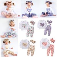 Wholesale Girl Pajamas Bow - Baby girls INS heart-shaped flower outfits Kids Casual long sleeve T-shirts+pants+Bow headband 3pcs sets Floral pajamas Clothing Sets C2676
