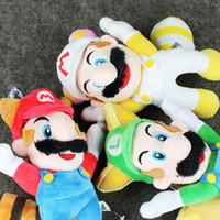 Wholesale Raccoon Mario Toy - 3pcs lot Super Mario Bros 22cm Flying Raccoon Tanooki Mario Luigi Flying Plush pendant Doll Toy