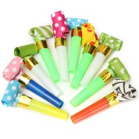 Atacado-10Pcs / Lot Kids Childrens Birthday Party Decoração Funny Dots Whistle Blowing Dragon Blowout Baby Birthday Supplies