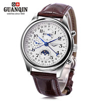 Wholesale Wristwatch 24 - Free Shipping New Fashion GUANQIN GQ20022 Male Auto Mechanical Watch Moon Phase Calendar 24 Hours System Men Wristwatch