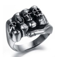 Wholesale steel fists - Flower Skull Men Ring Fashion Men Gothic Flower Skull Stainless Steel Biker Ring Titanium Anarchy Death Fist Skull Ring