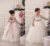 Beauty Girls Abiti formali Toddler Princess Cupcake Gown Lace maniche lunghe Custom Made Piano Lunghezza Ivory Flower Girl Dress With Sash