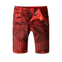 Wholesale Pockets Jeans Shorts For Summer - Men's fashion red dirty biker jeans for moto Summer casual knee length denim shorts