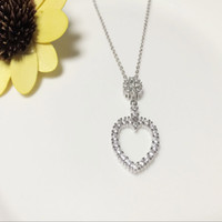 Wholesale Purity Silver - Inlay zircon Silver necklace 925 silver Fashion jewelry Have the spot Beautiful necklace Drops of water Love shape The chains of purity