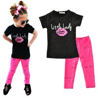 Wholesale Baby Girl Black Leggings - Girl Clothing Set Lips Girls Clothes 2017 Summer Black Short Sleeve T Shirts+Eyelash Leggings Pants 2pcs Letter Kids Baby Clothing Sets