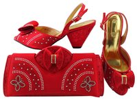 Wholesale Handbags Matching Shoes - Charming red shoes match bags with rhinestones bowtie series african lady shoes and handbag set for dress MM1041,heel 7.5CM