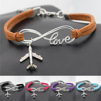 Wholesale Antique Silver Infinity Bracelet - Wholesale- New Creative Gifts Casual Antique Silver Plane Charms Airplane Pendant Leather Infinity Love Bracelets Fashion Aircraft Jewelry