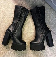 Купить Джинсы Женские-Модная платформа Wedge Heels Half Boots как Jeffrey Campbell Chunky Heel 12cmHigh Heeled Side Zipper Women Motorcyle Martin Boots Stage Shoes