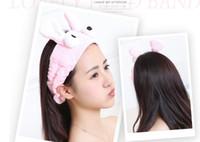 Wholesale Girls Bathroom Accessories - Fashion Cute Rabbit Ears Big Eyes Headband Women Girls Wash Face Make Up Hair Band Hair Accessories Bathroom Headwear