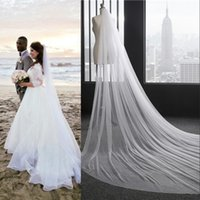 Wholesale Net Metering - 2017 Free Shipping Cathedral 3 Meters Long Veils for Summer Beach Weddings In Stock White Ivory Bridal Veils Under $8 CPA887