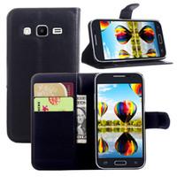 samsung çekirdek asal için cüzdan toptan satış-Samsung Galaxy Core Başbakan G360 G360H G3606 G3608 Deri Kılıf Flip Telefon Kapak Kılıf Cüzdan Kılıf Kart Yuvası ile Standı Tutucu