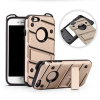Wholesale Iphone Back Plastic Shells - For Samsung S8 Plus Hybrid Armor Case Soft TPU PC Kickstand Shell Back Cover for iPhone 5 5s 6 6s 7 plus Huawei Mate 9 Pro OPP Bag
