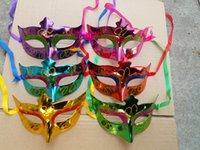 Wholesale Christmas Face Painting - Venetian Women's Masquerade Mask Color Painted Glitter Mardi Gras Masquerade Prom Mask Assorted Color One Size Fit Most