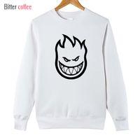 Wholesale Men S Spitfire - Wholesale- 2017 new men Pullover sweatshirt SPITFIRE WHEELS Skateboard Zombie Flaming Head Logo Plus Size