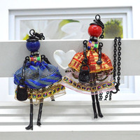Wholesale Dolls Necklace - Newest arrival fashion doll Necklace Jewelry sales lovely dress doll pendant accessory women necklace wholesale Christmas gift