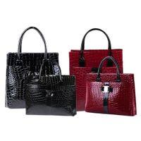 Wholesale Totes Vintage Wholesale - Wholesale- Luxury OL Style Lady Handbag Women Crocodile Pattern PU Leather Shoulder Bag 88 BS88