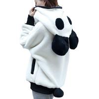 Wholesale Pullover Hoodies Panda - Korea Winter Fluffy Panda Ear Women Hoodies with Hood Wool Batwing sleeve Sweatshirt Casual Cute Outwear sudadera mujer