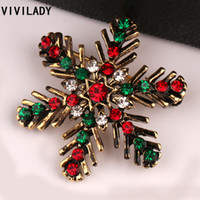 Wholesale Gold Snowflake Brooch - Wholesale- VIVILADY Classic Beautiful Christmas Snowflake Crystal Rhinestone Brooches Pin Female Femme Broche Costume Bijoux Accessory Gift
