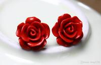 Wholesale wealth flower - Red flower earrings earrings female Korean version of retro roses paint carved roses three-dimensional sterling silver needle S925