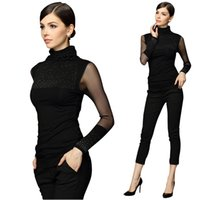 Wholesale Plus Sexy Black Sweater - Wholesale-2016 Women Sweaters Plus Size 3XL Sweter Mujer Black Sexy Turtleneck Diamond Pullover Slim Lace Long Sleeve Basic Pull Femme
