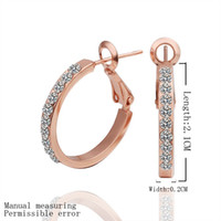 Wholesale Rose Gold Crystal Hoop Earrings - Hot Sale 18K Rose Gold Plated Elegant Hoop Earrings Genuine Austrian Crystal Fashion Costume Earrings Jewelry