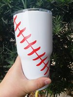 Wholesale Crystal Tumbler Glasses - Bar Cup Beer 20oz 30oz Stainless Steel Tumblers 30oz Softball Baseball Cups cover Straw wine glasses