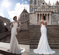 Wholesale Wedding Dresses Covering Back - 2017 New Elegant Full Lace Long Sleeves Mermaid Wedding Dresses Cheap Illusion Covered Button Back Sweep Train Wedding Bridal Gowns