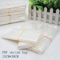 Wholesale Heat Wrap Bags - 15*30cmPOF Shrink Wrap Bags white POF Film Wrap Cosmetics Packaging Bag Open Top Plastic Heat Seal Shrink Storage Bag Spot 100  package