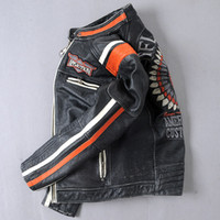 Wholesale Locomotive Fashion Genuine Leather Jacket - S-4XL Embroidery Classic Indian Skull stand collar American Motor custom spirit coats locomotive leather jacket good genuine leather