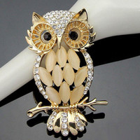 Wholesale Big Owl Scarf - Korea New Arrival Big Owl Brooches For Wedding Bouquet Vintage Wedding Hijab Scarf Pin Up Buckle femininos Broches Game Bijoux