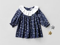 Wholesale Little Princess Dresses Free Shipping - INS styles new arrival Girl dress kids fall long sleeve 100% cotton full star print ruffles collar dress little princess dress free shipping