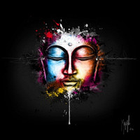 Wholesale Modern Buddha Oil Painting - Framed Patrice Murciano Zen Pop,Pure Hand Painted bunt modern Portrait Buddha Wall Art Oil Painting On Canvas.Multi size Free Shipping PM015
