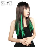 Wholesale Hair Green Highlight - Neitsi 18inch 10pcs lot Green# ±80g Straight Synthetic Clip in Hair Extensions Synthetic Single Clip Hair Piece Colored Highlight Extensions