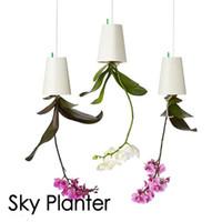 Wholesale Decoration Pieces Pots - pot decoration ideas 1 Piece 190*135*135mm Large Plastic Hanging Sky Planter 7 Colors Decorative Upside-Down Flower Pot Planter