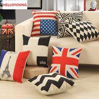Wholesale Vintage Flag Pillow - BZ007 Luxury Cushion Cover Pillow Case throw pillow Flag Tower decorative funda vintage