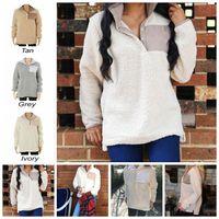 Wholesale Oversized Winter Sweater - Sherpa Pullover Women Winter Fall Fleece Hoodie Sweatshirt Oversized Half Button Sweaters 5 Colors 10pcs OOA3493