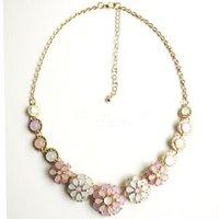 Wholesale Gem Bubble Necklace - Fashion Jewelry Vintage Bohemia Women Necklaces & Pendants Link Chain Necklace Bubble Flower Gem Pendant Necklace For Women