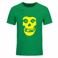 Wholesale Blue Brains - Rock And Roll Date Brain Misfits Skull T Shirts Men Casual Short Sleeve Printed T-shirts Plus Size Camisas Multi color optional DIY-0162D