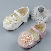 Wholesale Leather Sandals Pearls - New 2017 Girls shoes Pearl Lace Princess Children Shoes Fashion Korean Kids Sandals Spring Autumn Girl One Strap Button Casual Shoes A6408