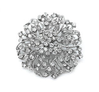 Wholesale large bouquet brooches resale online - Vintage Silver Clear Rhinestone Crystal Beautiful Large Party and Bouquet Brooch