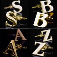 ingrosso migliori gemelli della moda uomo-Lettera di moda in oro Gemelli A-Z inglese gemelli camicie gemelli per gioielli da uomo gemelli francesi matrimonio Best padre regalo di Natale