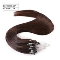 extensions de cheveux micro loop marron achat en gros de-9A Quality Grade - Extension de cheveux avec anneau Micro Loop 100% cheveux humains péruviens de couleur marron, 1 / brin 100g / paquet, remise importante, sans DHL