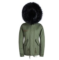 Wholesale Real Fur Collar Sale - Wholesale- Hot sale army green coats winter warm real animal fur lining black fur jacket collar hooded coats male outwear