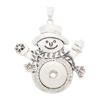Wholesale Stainless Steel Woman Necklaces - D0025 Noosa Chunks Cute Snowman Pendant Ginger Snap Button Pendants Sweater Necklace 18mm DIY Women Jewelry