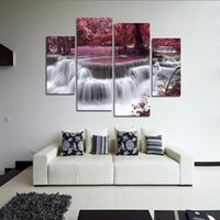 Wholesale 4 Panes Landscape Waterfall Canvas Painting Wall Art Home Decoration Maple Trees Forest Modular Pictures Oil Paintings Set