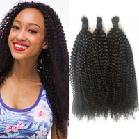 Wholesale Cambodian Bulk Hair - Cambodian Afro Kinky Human Hair Bulk 3 Bundles Natural Color Curly Braiding Hair Bulk For Black Women FDSHINE